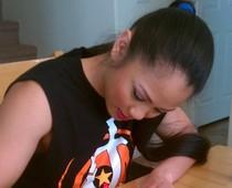 Ana Julaton signing Topps Trading Cards