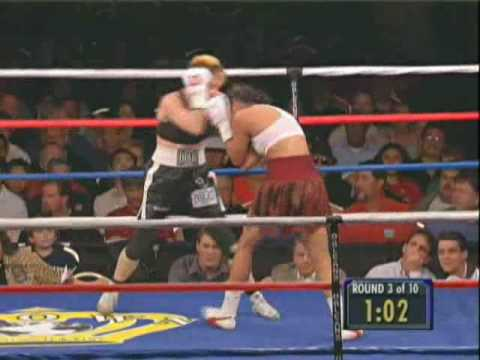 Layla McCarter fighting Belinda Laracuente for the GBU Lightweight Championship of the World - 10 x 3 minute rounds Nov. 17, 2006 Orleans Casino, Las Vegas, Nevada