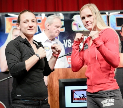 Diana Prazak and Holly Holm at weigh-in, 12/6/12, Credit:  Will Fox