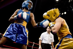 Keisher Mcleod Wells lands an upper cut in the Golden Gloves