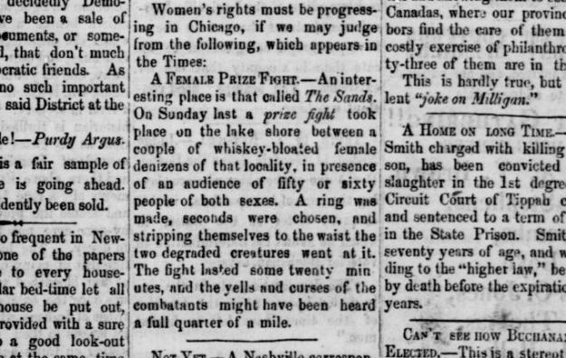 Female Prize Fight.16Oct1856.Fayetteville Observer