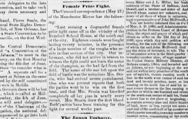 Female Prize Fight.31May1860.HolmesCountyFarmer