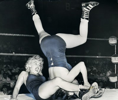 Art female wrestlers 1950's http://soberinthecauldron.blogspot.com/2011/10/vault.html