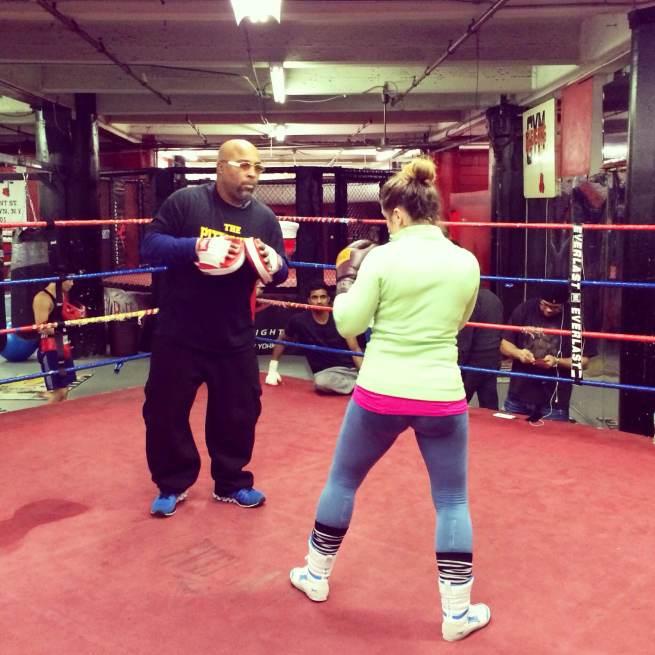 Elisa Collaro training with Buddy McGirt at Gleason's Gym