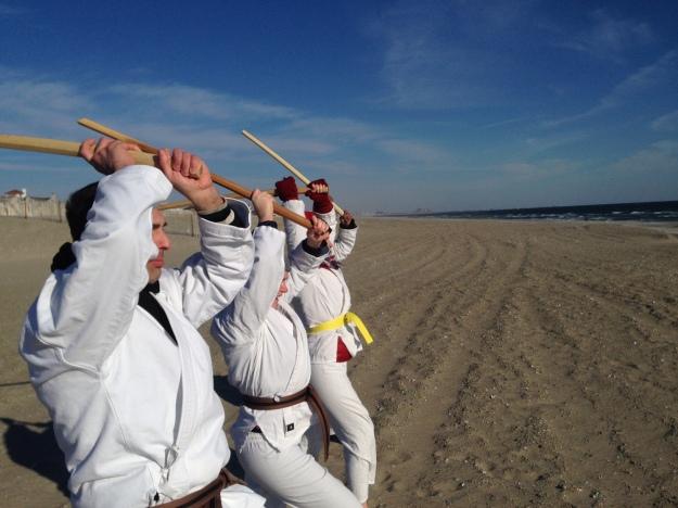 A Thousand Bokken Strikes on Rockaway Beach 01012015