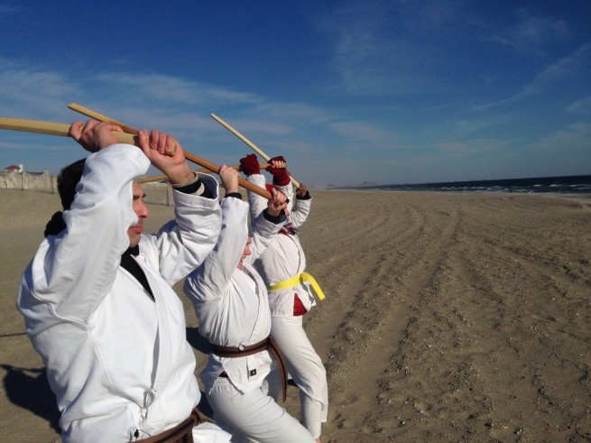 A Thousand Bokken Strikes on Rockaway Beach 01012015